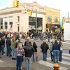 "Record-Eagle/Jan-Michael Stump<br /> Crowds line the intersection of Cass and Front Streets to watch filming for ""A Year in Mooring,"" an independent film, in Traverse City on Sunday afternoon."