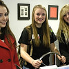 Record-Eagle/Lisa Perkins<br /> Alivia McCall, Olivea Cooper and Claire Ferszt test the ship handling simulator unit at the Great Lakes Maritime Academy during GirlTECH, a program developed to encourage high school girls to consider non-traditional careers