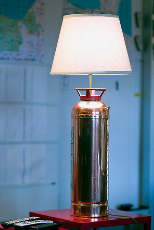 Record-Eagle/Jan-Michael Stump<br /> A fire extinguisher lamp sits in the remodeled lounge of Traverse City Fire Department's Station 2.