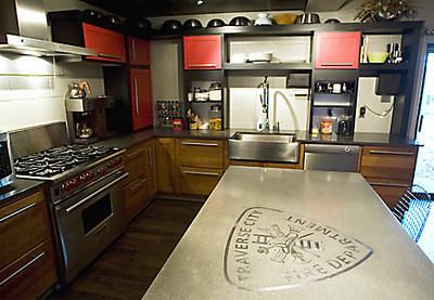 Record-Eagle/Jan-Michael Stump<br /> A concrete countertop with the Traverse City Fire Department patch in stainless steel sits in the newly remodeled kitchen of Station 2.