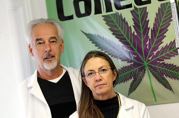 Record-Eagle/Jan-Michael Stump<br /> Stephen Ezell (cq) and his wife Barbara Ezell (cq) of the medical marijuana dispensary Collective, Inc, in Acme.