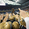 Record-Eagle/Jan-Michael Stump<br /> Traverse City St. Francis players celebrate their state championship title after defeating Hudson 42-8 in Saturday's state final at Ford Field in Detroit.