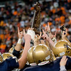 Record-Eagle/Jan-Michael Stump<br /> Traverse City St. Francis players celebrate their 42-8 win over Hudson in Saturday's Division 7 state final in Detroit.