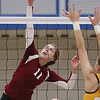 Record-Eagle/Keith King<br /> Charlevoix's Karley Pearsall hits the ball against Forest Area in Tuesday's regional match.