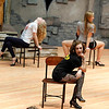 """Record-Eagle/Jan-Michael Stump<br /> Alexandra Cockerall, front, rehearses a scene with other Interlochen Arts Academy students for """"Cabaret,"""" Monday in Harvey Theatre."""