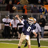 Record-Eagle/Jan-Michael Stump<br /> Traverse City St. Francis quarterback Austin Currie (6) throws a pass during Friday's win over Mancelona.