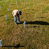 Record-Eagle/Jan-Michael Stump<br /> Phil Houle of Kingsley looks at the 178 crosses members of Veterans for Peace Chapter 50 placed in memory of those from Michigan who died in the current wars in Iraq and Afghanistan.