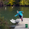 """Record-Eagle/Jan-Michael Stump<br /> Lenny McNeal catches minnows in Lake Leelanau's Narrow's Park to use for fishing bait Wednesday afternoon. """"Gotta get ready,"""" he said."""