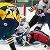 Record-Eagle/Jan-Michael Stump<br /> North Starts goalie Tyler Marble makes a save during Friday night's loss to Springfield.