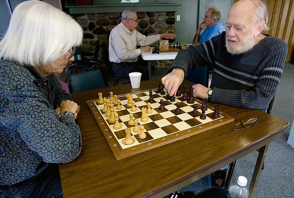 Record-Eagle/Keith King<br /> Bob McDonald and Marge Forgione, both of Traverse City, play chess at the Traverse City Senior Center.