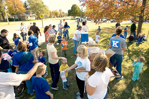 Record-Eagle/Keith King<br /> Participants gather after finishing the two-mile Kalkaska Elementary Parent Teacher Organization FUNd Run in Kalkaska. Students from Birch Street Elementary School and Birch Street Intermediate School raised money through the event for curriculum-related field trips.