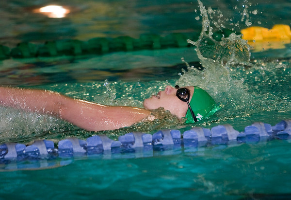 Record-Eagle/Douglas Tesner<br /> Traverse City West's Paige Rogers won the 200 IM Tuesday as the Titans beat Manistee 138-46 in a dual at the Civic Center. Rogers also captured the 100 backstroke.