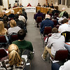 Record-Eagle/Douglas Tesner<br /> Citizens gather to listen to candidates for the Traverse City Area Public Schools Board of Trustees discuss the issues.