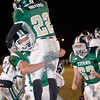 Record-Eagle/Douglas Tesner<br /> A Traverse City West teammate lifts Jay Meyers after a TD.