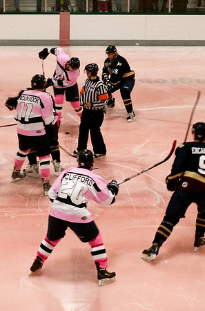Record-Eagle/Douglas Tesner<br /> The North Stars wore pink jerseys and played on pink ice to support Breast Cancer Awareness Month.