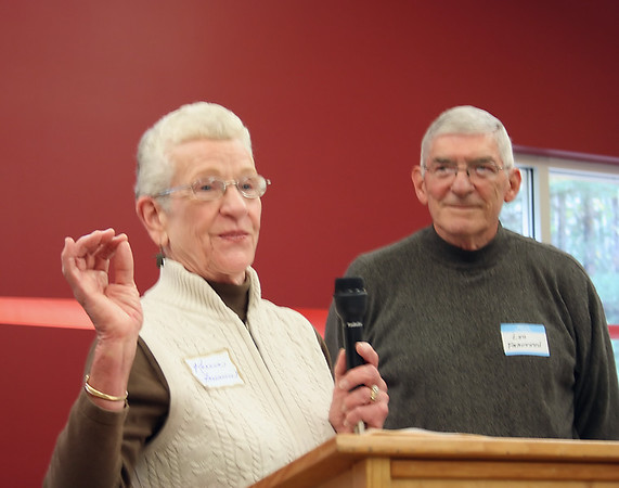 Record-Eagle/Loraine Anderson<br /> Karen Franseen speaks at Saturday's dedication of the new Grass River Center, with her husband, Len, at her side. The Franseens headed up the six-year campaign to raise the $670,000 needed to build the new facility.
