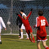 Record-Eagle/Jan-Michael Stump<br /> Suttons Bay's Miguel Villanueva (2) celebrates his goal in the second half of Wednesday's win over Bellaire.