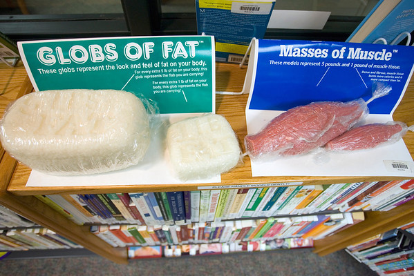 Record-Eagle/Keith King<br /> Representations of fat and muscle are displayed at the Munson Community Health Library in Traverse City.