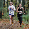 Record-Eagle/Jan-Michael Stump<br /> Petoskey's Sarah Goble (178) and Traverse City Central's Molly Peregrine (238) lead the pack during Saturday's Traverse City Central Invitational cross-country meet.