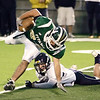 Record-Eagle/ Keith King<br /> Traverse City West's Dee Kirksey tries to keep his balance against Gaylord Friday, September 24, 2010 at Thirlby Field.