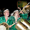Record-Eagle/Jan-Michael Stump<br />  Traverse City West students Gates Muller, left, and Joey VanderBosch cheer during Friday's game.