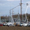 Bill O'Brien/Record-Eagle<br /> Construction is continuing on Wolverine Power Cooperative's new $6 million electric transmission substation in Elmwood Township off M-72 west of Traverse City. Portions of the substation's 69,000 volt transmission system should begin operating by the end of October, while the 138 kV system should be operating by next summer, according to Tony Anderson of Cherryland Electric Cooperative. The project cost is being split by Wolverine and Traverse City Light and Power.