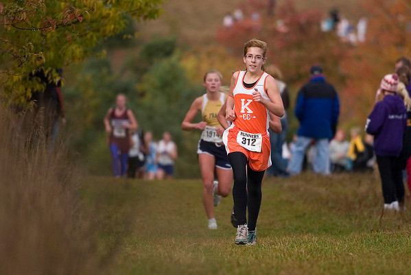 Record-Eagle/Jan-Michael Stump<br /> Kingsley's Kristin Volkening won the girls race in 20:50 at the Traverse City Cross Country Invitational.