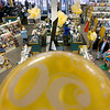 Record-Eagle/Keith King<br /> Balloons are displayed for the 50th anniversary of Horizon Books as customers peruse the store.