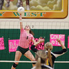 Record-Eagle/Keith King<br /> Traverse City West's Hannah Pohlman hits the ball against Traverse City Central Wednesday, October 26, 2011 at Traverse City West High School.