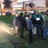 Record-Eagle/Keith King<br /> Local leaders mingle outside the Plante and Moran building where they spent the night to raise awareness of the need for home heating assistance for some northern Michigan families. The group was lead by Doug Luciani, president and CEO of the Traverse City Area Chamber of Commerce and aided by a grant from DTE Energy.
