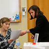 Record-Eagle/Jan-Michael Stump<br /> Assistant Grand Traverse County Prosecutor Noelle Moeggenberg, right, shows transcripts of text messages to Holli Tezak during the trial of Robert Jensen Schwander on Tuesday in 13th Circuit Court in Traverse City.