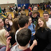 Record-Eagle/Jan-Michael Stump<br /> Traverse City West High teacher Juleen Jenkins-Whall greets  students after a surprise announcement she had won a Milken Educator Award Thursday at an all-school assembly.