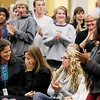 Record-Eagle/Jan-Michael Stump<br /> Traverse City West High teacher Juleen Jenkins-Whall reacts at the surprise announcement she had won a Milken Educator Award Thursday at an all-school assembly.
