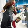Record-Eagle/Keith King<br /> A skeleton pirate statue greets customers as they make their purchases at the Traverse City Goodwill store.