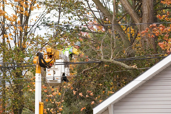 Record-Eagle/Jan-Michael Stump<br /> Jim Harrington of Traverse City Light & Power works to repair power lines snapped by a fallen branch behind a home on Washington Street during Tuesday's windstorm.