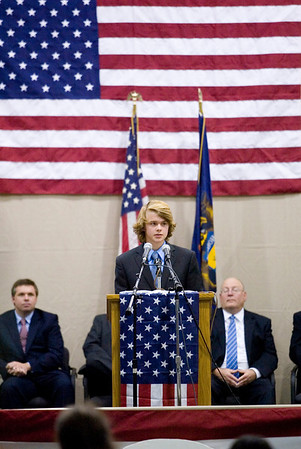 Record-Eagle/Jan-Michael Stump<br /> Leland High School student Aaron Joliffe gives a campaign speech for gubernatorial candidate Virg Bernero during Thursday's mock election.