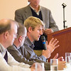 """Record-Eagle/Jan-Michael Stump<br /> Sam Porter of Porterhouse Productions, Inc, speaks during the panel, Pulling it All Together,"""" in the """"Thriving Not Just Surviving,"""" small business conference."""