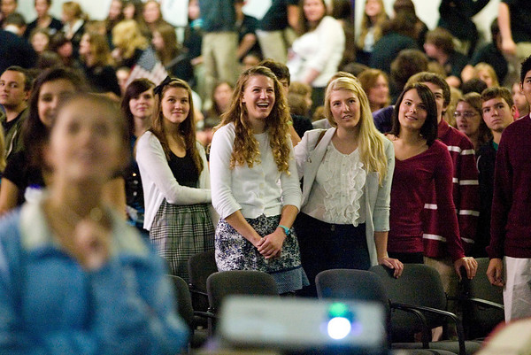 Record-Eagle/Jan-Michael Stump<br /> Students watch campaign videos created by students following Thursday's mock election at Leland Public Schools. Government students created campaign videos and signs, and wrote speeches for candidates, many of whom attended to speak as well. About a dozen area schools attended the event.