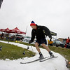 Record-Eagle/Keith King<br /> Ross Williams, 18, of Williamsburg, races against the clock Saturday as he skis two laps on a course at Brick Wheels during the Vasa Ski Club Fall Party. The snow track was created using ice from Centre ICE, the Kaliseum and Howe Arena.