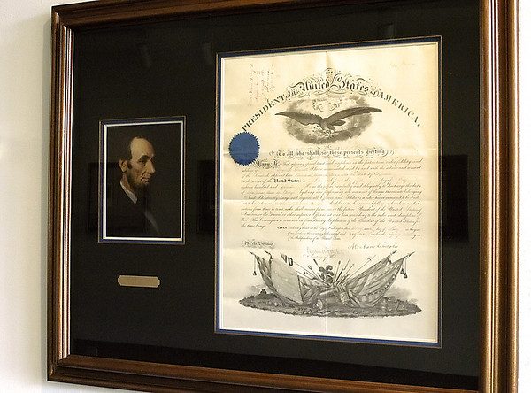 Record-Eagle/Lisa Perkins<br /> A military appointment warrant, signed by President Abraham Lincoln in 1862, is among the presidential papers on display at the Dennos Museum Center through January.
