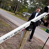 Record-Eagle/Douglas Tesner<br /> Bernard Yantz is ready to put his new anti-snowplow mailbox on the market.