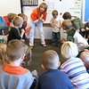 Record-Eagle/Douglas Tesner<br /> <br /> Class room to class room traveling music teacher Peggy Pierson works with a class of kindergartners at  Blair Elementary.   Enrollment in all-day, every-day kindergarten at Blair Elementary increased rapidly right before school started this year. A third section was needed.