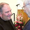 Record-Eagle/Sheri McWhirter<br /> The Rev. Monsignor Bernard Hebda meets with the Rev. Edwin Thome, priest at St. Joseph Catholic Church on Old Mission Peninsula. Hebda is the new bishop-elect for the Roman Catholic Diocese of Gaylord.