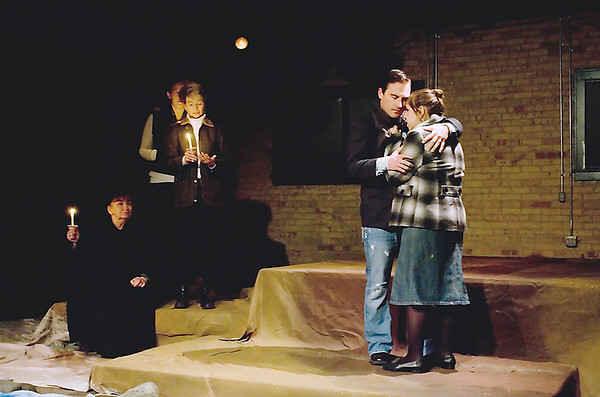 "Record-Eagle/Keith King<br /> Cast members rehearse a scene from ""The Women of Lockerbie"" at the Studio Theatre in Traverse City."
