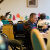 Record-Eagle/Jan-Michael Stump<br /> Greg Gilbert eats lunch at The Maples, a Frankfort nursing home.
