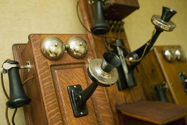 Record-Eagle/Jan-Michael Stump<br /> A old telephone sits on display at the Peninsula Telephone Company.