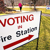 Record-Eagle/Keith King<br /> Lenore Andres, of Traverse City, exits the Grand Traverse Rural Fire Department Station 10 Long Lake building Tuesday, November 2, 2010 after voting.