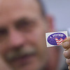 "Record-Eagle/Jan-Michael Stump<br /> Steve Kopacki shows off an ""I voted"" sticker after casting his ballot at Precinct 1 in Traverse City Fire Station No. 1 Tuesday morning."