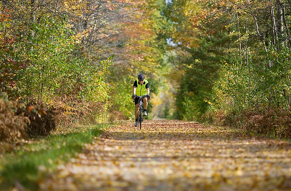 "Record-Eagle/Keith King<br /> Selden Kalbfleisch, of Traverse City, rides his bicycle Tuesday along the Leelanau Trail, part of  the TART Trails network, in Leelanau County. ""It's just beautiful,"" Kalbfleisch said of the scenic ride."