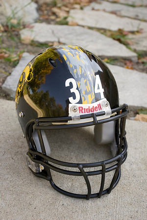 Record-Eagle/Keith King<br /> A Traverse City Central High School football helmet with a camouflage-designed stripe will be worn against Gaylord High School on Friday during the Wounded Warrior Football Game at Thirlby Field.